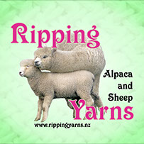 Rippingyarns Logo. Rippingyarns for alpaca and sheep fleece